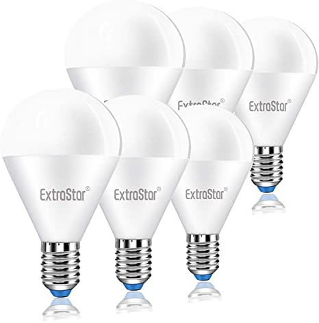 EXTRASTAR Lampadina LED E14,8W Equivalenti a 64W,3000K,luce bianca calda,Confezione da 6