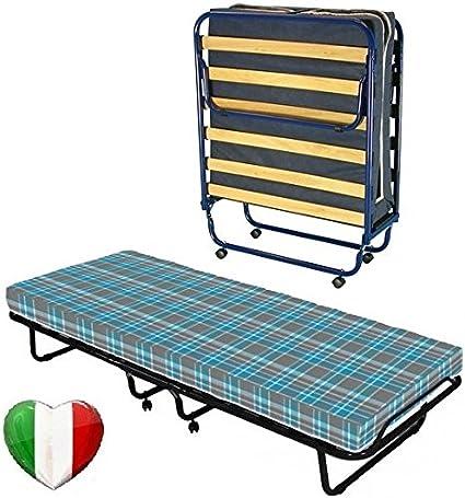 Cama plegable con somier de láminas y colchón de espuma Waterfoam ortopédico, de 10 cm de altura