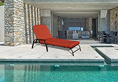 Kozyard Maya Outdoor Chaise Lounge Weather & Rust Resistant Steel Chair with Polyester Fabric Cushion for Pool, Patio, Deck or Yard