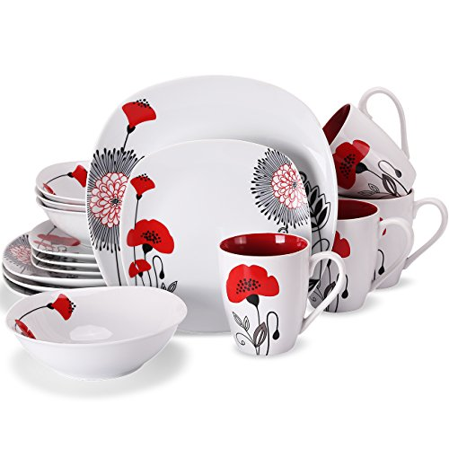 Dinnerware Sets Square for 4,16-Piece Plates and Bowls with