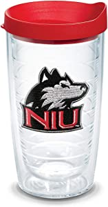 Tervis Northern Illinois Huskies Logo Tumbler with Emblem and Red Lid 16oz, Clear