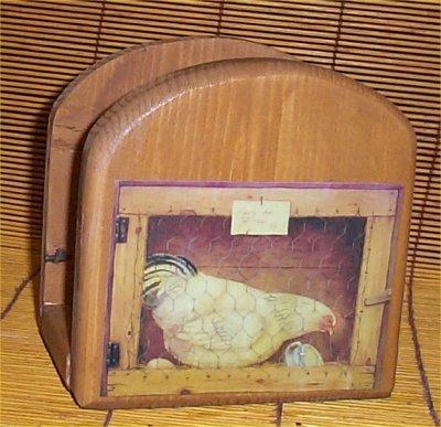 Lodge Napkin - Rooster Chicken Napkin Holder Solid Wood Lodge Kitchen Cabin