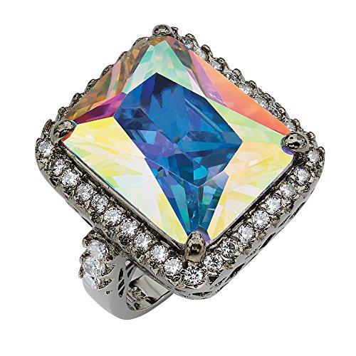 (Palm Beach Jewelry Emerald-Cut Aurora Borealis Cubic Zirconia Black Rhodium-Plated Cutout Ring Size 8)