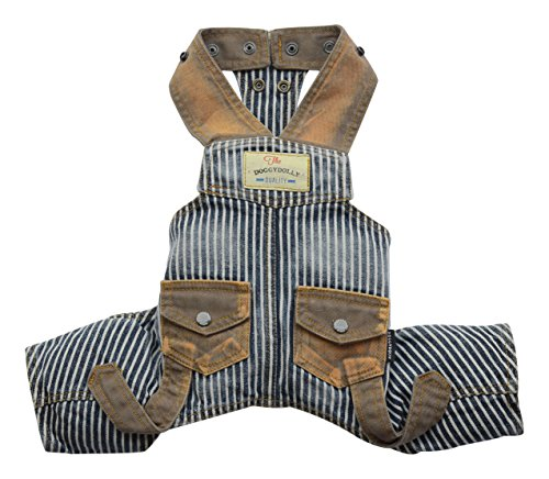 DoggyDolly Authentic Vintage Distressed Denim Overalls, S...