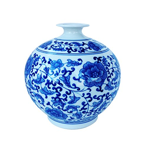 - Big Sale ! Classic Chinese Vintage Blue and White Floral Globe Porcelain Decorative Vase