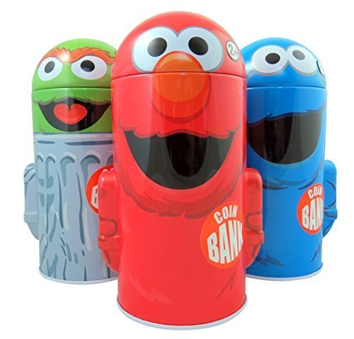 (Sesame Street Character Shape Dome Tin Bank with Arms, Pack of 3)