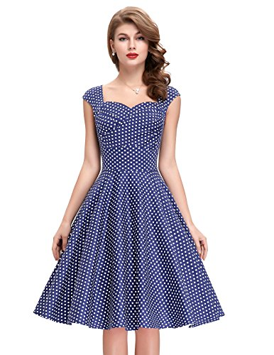 [Sleeveless 1950s Cocktail Dresses Sweetheart Neck (Polka Dot-5, L) BP105-5] (1950 Dress)