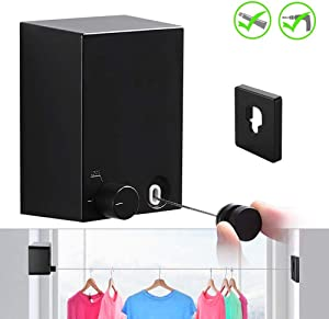 JOOM Retractable Clothesline Indoor Outdoor Heavy Duty Stainless Steel Line Wall Mounted Laundry line for Bathroom Hotel Style Clothesline 13.8 Feet with ABS Case+ Aluminum(one line, Black)