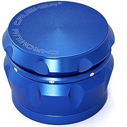 Chromium Crusher Drum 2.5 Inch 4 Piece Tobacco Spice Herb Grinder -Metalic Blue