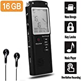 16GB Digital Voice Recorder-Mini HD Voice Activated Recorder 580 Hours Recordings Capacity-Sound Recorder MP3 Player for Lectures/Meetings/Interviews/Class