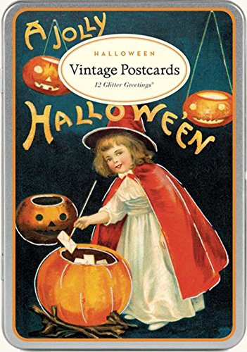 Victorian Trading Co Halloween Vintage Postcards 12 Glitter Greetings in Tin New]()