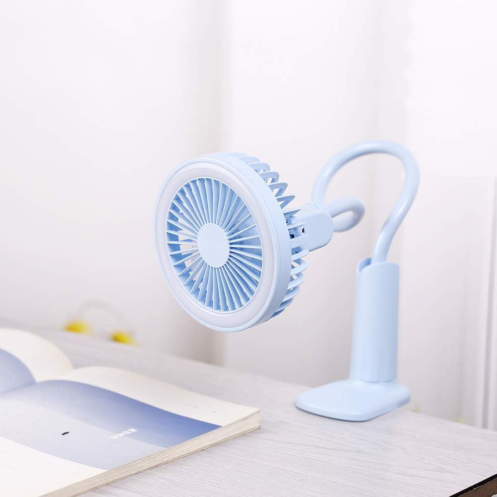 2 in 1Adjustable USB Handy Lamp Fan Free Rotation Desktop Clip Lamp Fan,Rechargeable Mini Fan for Personal Use Blue