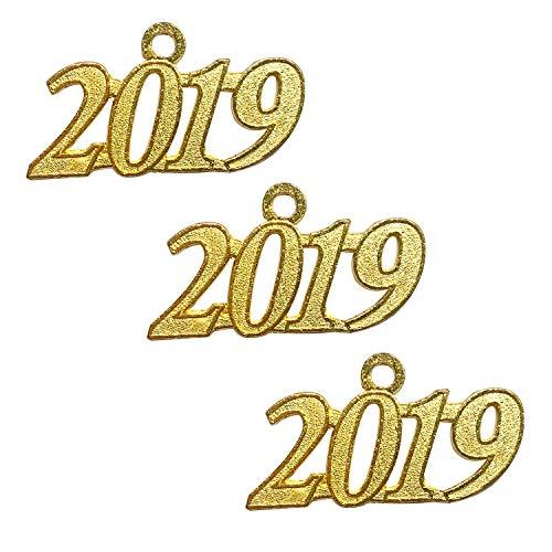 Grekywin Gold Color Signet 2019 Year for Graduation Tassel, Charms Pendants DIY, Bracelet and Necklace, 3 Pcs ()