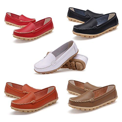 Transer Soft Ladies Leisure Flats Shoes, Women Slip on Casual Work Loafers,Comfortable Leather Lazy Shoes White