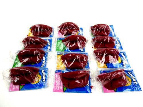 Red Candy Wax Lips, 12 Individually Wrapped Lips -