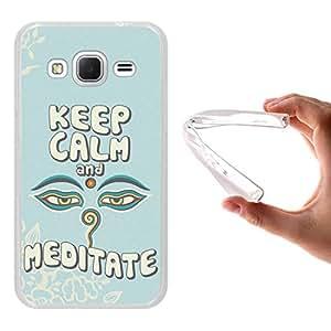 Funda Samsung Galaxy Core Prime, WoowCase [ Samsung Galaxy Core Prime ] Funda Silicona Gel Flexible Frase Keep Calm And Meditate, Carcasa Case TPU Silicona - Transparente