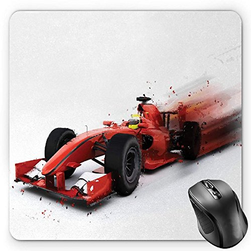 (BGLKCS Cars Mouse Pad by, Generic Formula 1 Racing Car Illustration with Special Effect Turbo Motion Auto Print, Standard Size Rectangle Non-Slip Rubber Mousepad, Red Black)