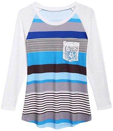 (POGTMM Long Sleeve Striped T Shirt Tunic Tops for Leggings for Women (S-US 2-4, Z# Multicolor Blue))