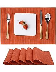 Myir JUN bordstabletter uppsättning med 6, tvättbara halkfria värmeisolerande vävda vinylbordstabletter för kök matbordsmattor 30x45cm Orange