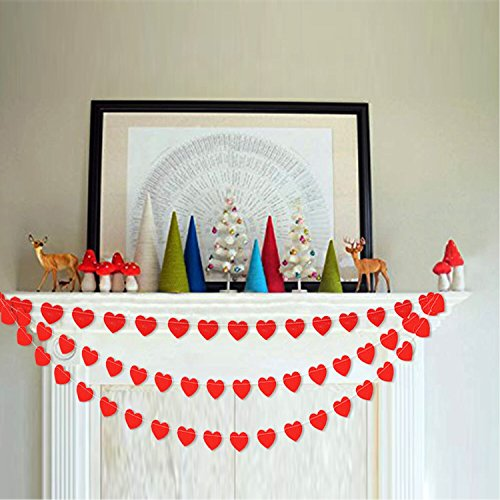 Red Heart Garland Banner Bunting | Romantic Valentines Day Decoration | Valentine Garland | Bridal Shower, Engagement, Wedding Party Decorations| Home, Wall , Mantel Decor | Pack of 2, 26.2 ft Total -