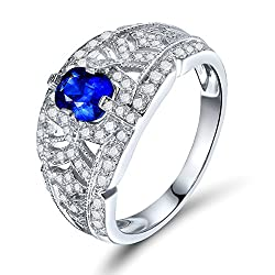 White Gold With Blue Sapphire Diamond Ring