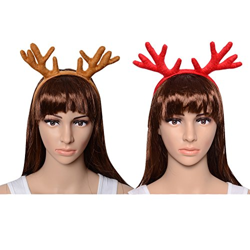 CHICHIC Set of 2 Christmas Reindeer Antlers Headbands Kids Head Band Christmas Reindeer Hats Reindeers Deer Hairband Christmas Ornaments Decorations Cosplay Costume Easter Day Party ()