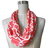 Womens Interlocking Chain Square Pattern Scarf w/Zipper Pocket - Pop Fashion (Coral)