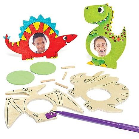 Kit Portafoto Di Legno A Forma Di Dinosauro Da Colorare Per Bambini