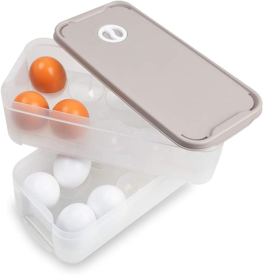 HANSGO Egg Holder, DeviledDispenser Container Egg Tray with Lid for 20 Eggs Egg Carrier Box