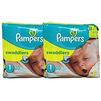 Amazon.com: Pampers Swaddlers Diapers, Size 1, 20 Count Pack of 2 ...
