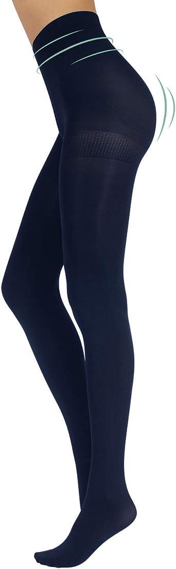 Coton Tricot Collant Avec Confort Zwickel et Flachnaht Opaque Noir