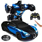 Ursulan RC Cars Robot for Kids Remote Control Car Transformers Toys for Boys Girls Age of 6,7,8-16 Year Old Gifts One Button Transforms into Robot with LED Light Intelligent Vehicle (Blue)