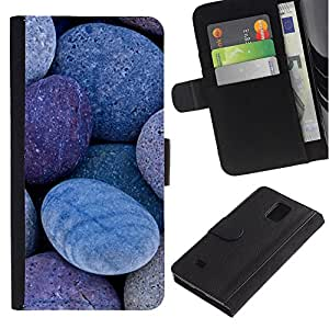 KingStore / Leather Etui en cuir / Samsung Galaxy Note 4 IV / Natural Stones Pebbles Beach
