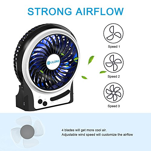 BENGOO Mini Desk Fan Portable Personal Cooling Fan USB Fan with Light Mode Powered by Rechargeable Battery for Office Traveling Household Use (Remove the Plastic film in the Battery Case before Use) by BENGOO (Image #1)