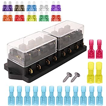 Replacement Parts Fuse Holders Apply to 1~40 AMP Block with 10 Free Blade  Fuse ARTGEAR 2-Input 6-Output Car Standard Blade Fuse Holder ATC ATO 6 Way Fuse  Box with Wire for Car/Boat/Verfas