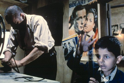 Cinema Paradiso Salvatore Cascio Philippe Noiret in Projection Room Casablanca Poster On Wall 11x17 Mini Poster