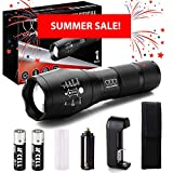 SUMMER SALE: Super Bright LED Tactical Flashlight - High Lumen, Zoomable, 5 Modes, Waterproof Water Resistant, Handheld Light - Best Camping, Outdoor, Emergency, Hurricane, Everyday Flashlights