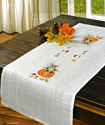 Printed Stamped Cross Stitch Table Runner Kit for Embroidery (Halloween 6903) -