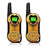 Walkie Talkies for Kids, 22 Channel Child Walkie Talkies 2 Way Radio 3 Miles (Up to 5Miles) FRS Handheld Walkie Talkie for Kids (Pair) (Yellow)