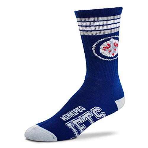 For Bare Feet NHL 4 Stripe Deuce Crew Men Socks-Winnipeg Jets-Large (10-13)