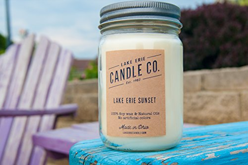 Lake Erie Sunset- 12oz 100% Soy Wax Candle Hand-Made in - Columbus Times Ohio Sunset