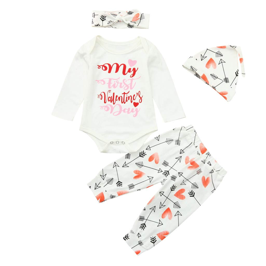 First Valentines Day Letter Romper+Love Pants+Hat+Bowknot Headband 4Pcs Outfits Toddler Kids Newborn Baby Boys Girls Clothes