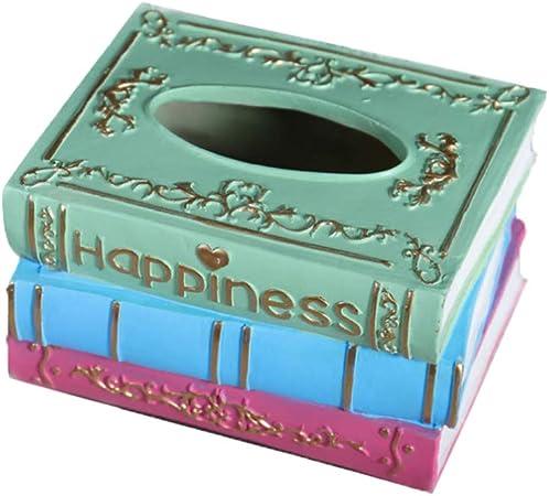 Garneck Creativo Caja de Pañuelos Cubierta Resina Vintage Retro Forma de Libro Papel Toalla Titular Servilleta Kleenex Contenedor de Almacenamiento para Baño Cocina Oficina: Amazon.es: Hogar