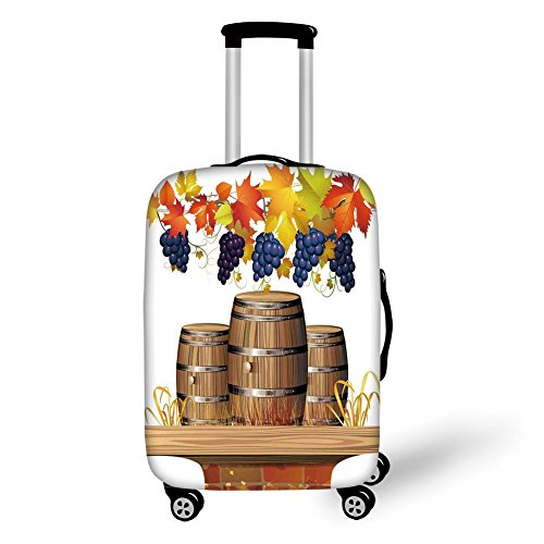 (Travel Luggage Cover Suitcase Protector,Grapes Home Decor,Wood Wine Barrels with Faded Golden Autumn Leaves Fall Sunlight Design,Orange Brown,for Travel)