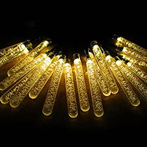 Outdoor String Lights,Water Drop Solar String Fairy Waterproof Lights Christmas Lights Solar Powered String lights for Garden, Patio, Yard, Home, Christmas Tree, Parties (Yellow)