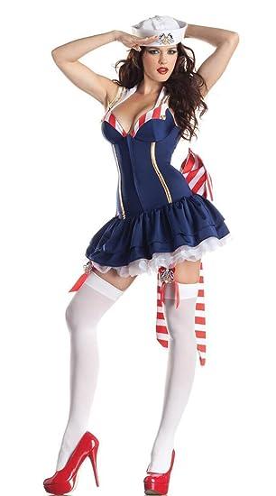 Vestido para mujer con cuello halter, diseño de marinero marino ...