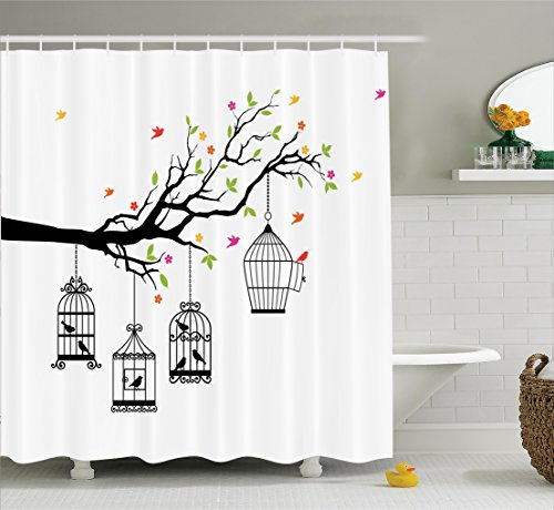 Ambesonne Flying Birds Decor Collection, Floral Colorful Tree Branch with Birds and Open Cages Freedom Theme Spring Liberty Home, Polyester Fabric Bathroom Shower Curtain Set with Hooks, Multi