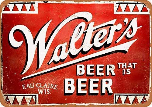 NNHK Vintage Look Metal Sign - Walter's Beer That is Beer Wall Plaque Sign 8X12 Inch ()