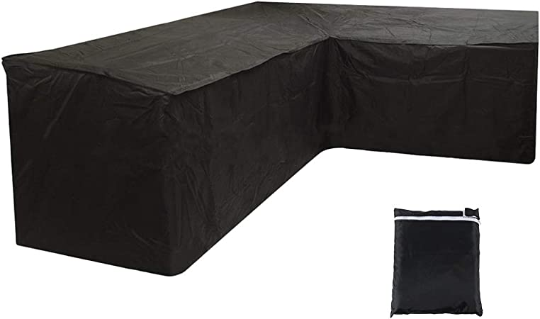 Willkey L Shaped Garden Furniture Covers Waterproof Patio Dustproof Outdoor Dining Set Furniture Sofa Protector With Storage Bag For Moving Or Sunscreen 215x215x87cm Black Amazon Co Uk Garden Outdoors