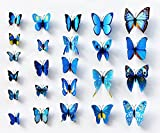 FLY SPRAY 3D Blue Butterfly Removable Mural Wall Stickers Wall Decal For Home Decor(FBA)